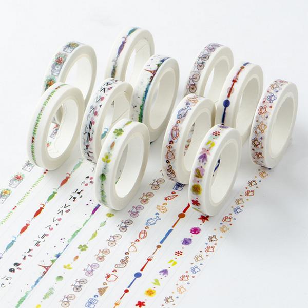 MIKIMOOD創意分隔線細款 和紙膠帶-水果