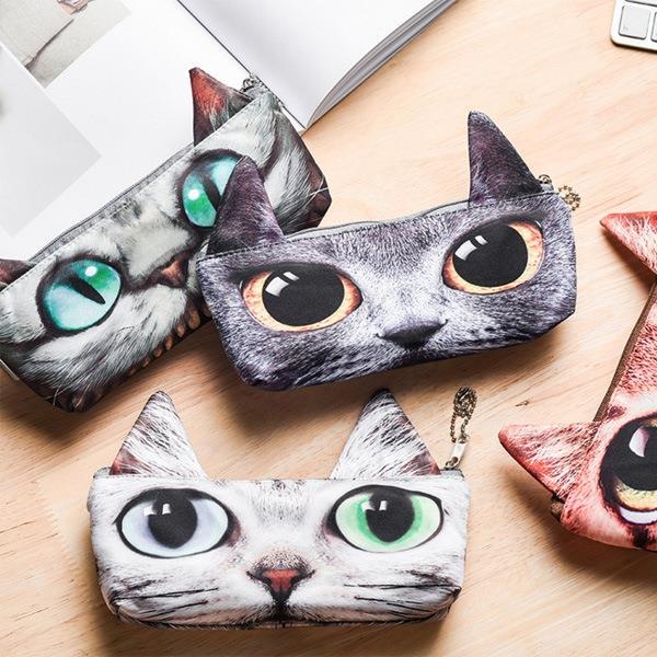 三角耳閃亮雙眼喵星人長條筆袋 鉛筆盒-柴郡貓