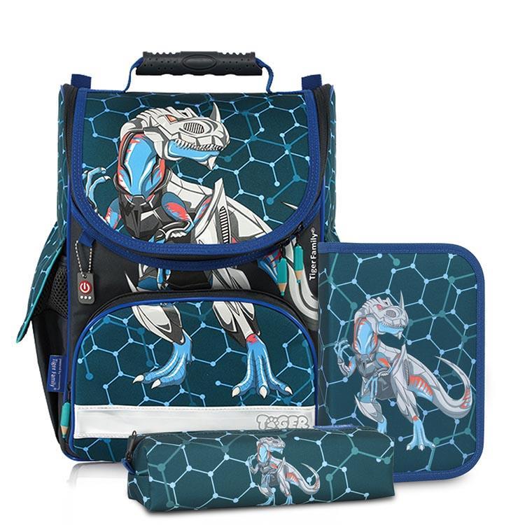 Tiger Family小貴族超輕量護脊書包+文具袋+鉛筆盒-鐵甲恐龍