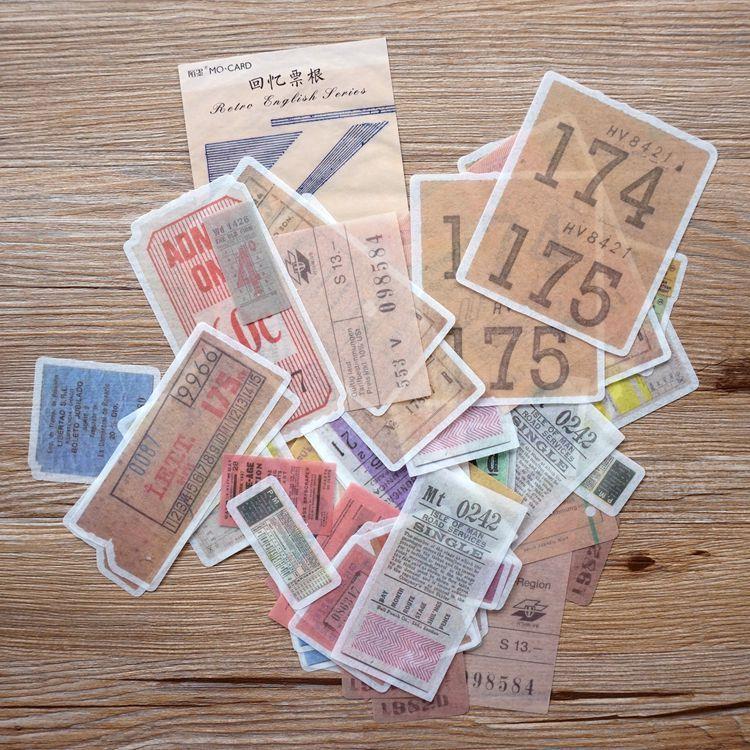 和紙大貼紙系列 01.回憶票根(套/60枚)