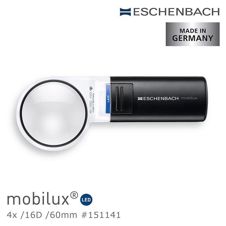 【德國 Eschenbach】4x/16D/60mm 德國製LED手持型非球面放大鏡 151141