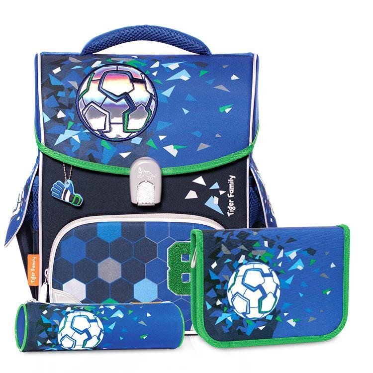 TigerFamily小學者超輕量護脊書包+文具袋+鉛筆盒--8號足球