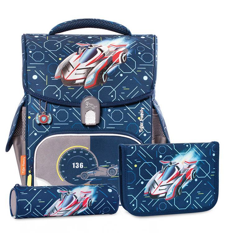 TigerFamily小學者超輕量護脊書包-音速賽車 送文具袋+鉛筆盒