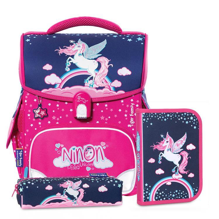 TigerFamily小學者超輕量護脊書包+文具袋+鉛筆盒--奇幻獨角獸