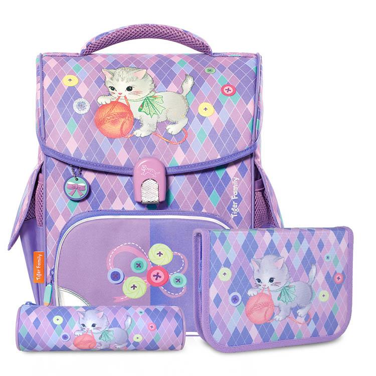TigerFamily小學者超輕量護脊書包+文具袋+鉛筆盒-毛球小貓