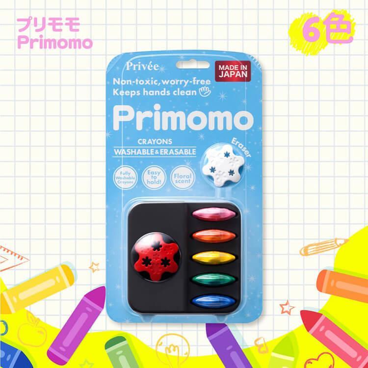【Primomo】普麗貓趣味蠟筆(花瓣型)6色-附橡皮擦