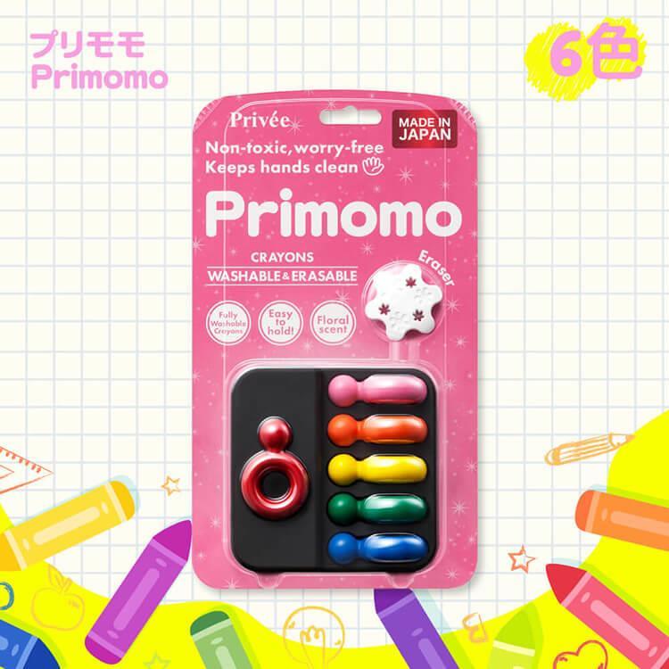 【Primomo】普麗貓趣味蠟筆(戒指型)6色-附橡皮擦
