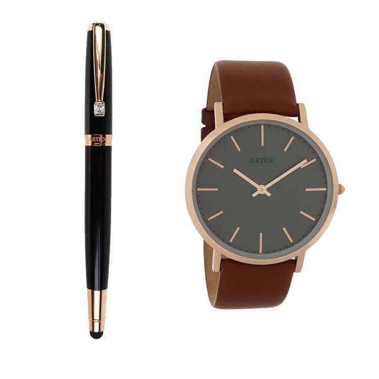 ARTEX 雅致觸控鋼珠筆-玫瑰金/黑管+Style真皮手錶 褐/玫瑰金