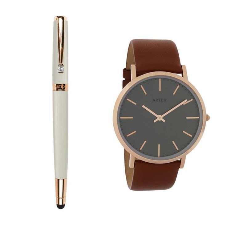 ARTEX 雅致觸控鋼珠筆-玫瑰金/白管+Style真皮手錶 褐/玫瑰金