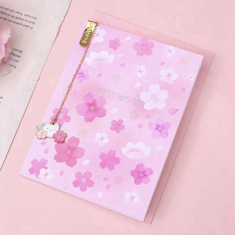 櫻花吊墜書籤附萬用卡B.粉紅