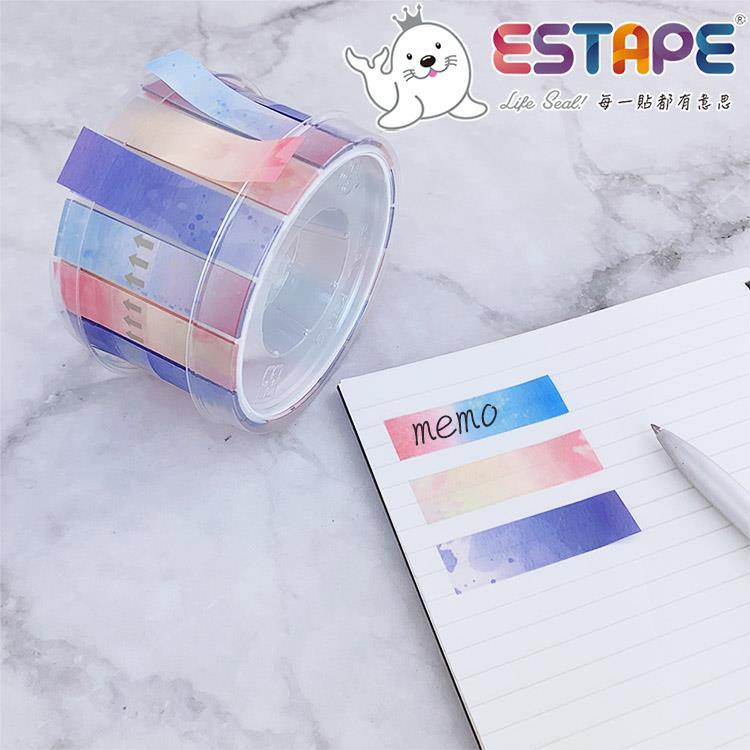 【ESTAPE】Memo 易撕貼|渲彩組合(15mm x 55mm/可書寫/標籤/註記)