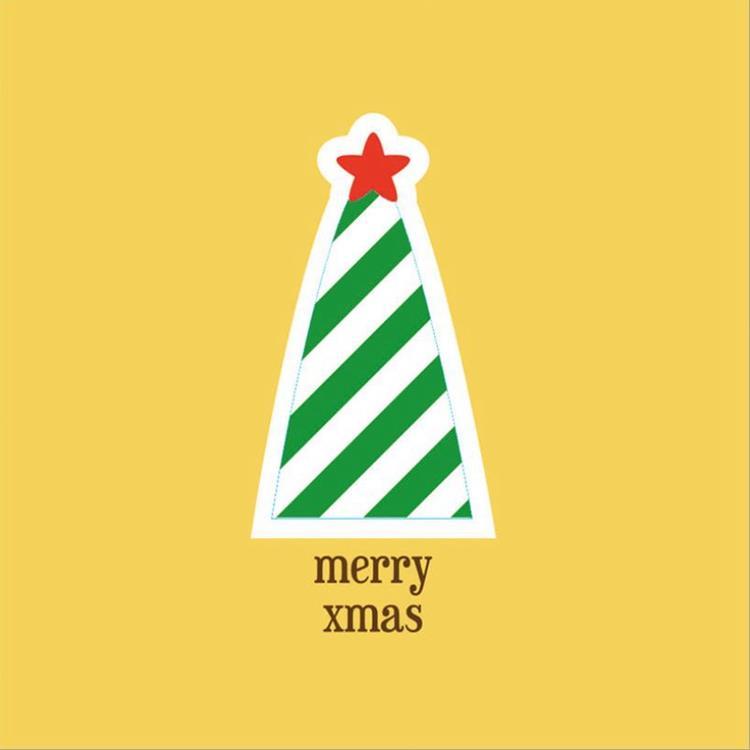 三折鏤空聖誕小卡A.聖誕樹(黃卡)