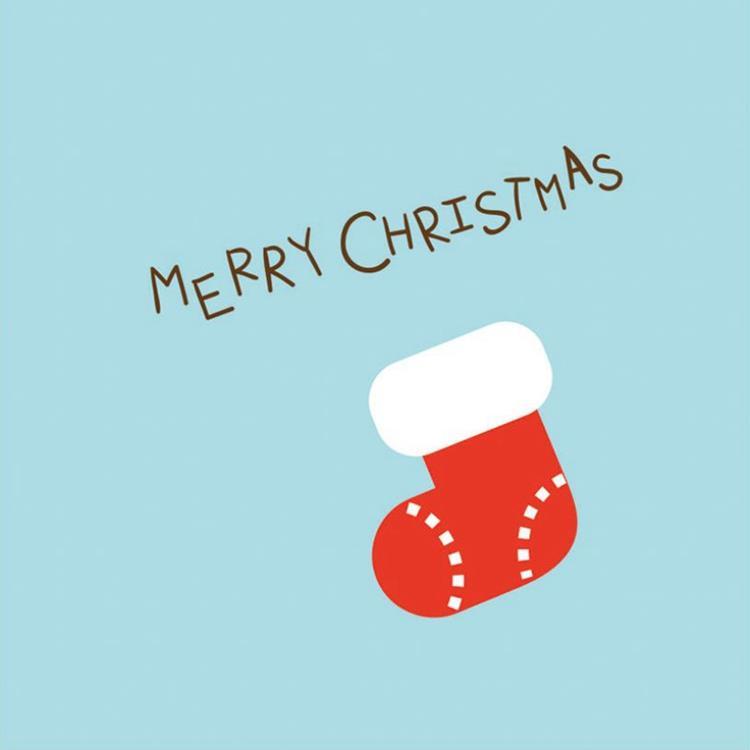 三折鏤空聖誕小卡H.聖誕襪