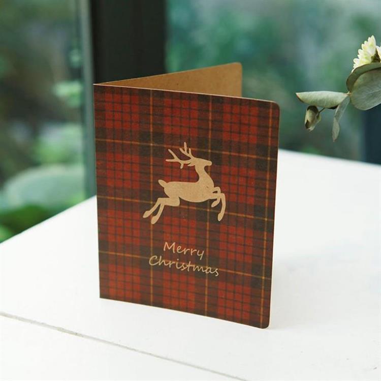 復古格紋聖誕小卡B.麋鹿