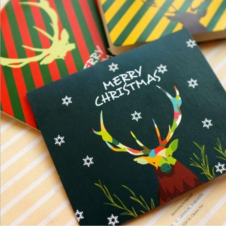 麋鹿聖誕小卡A.墨綠