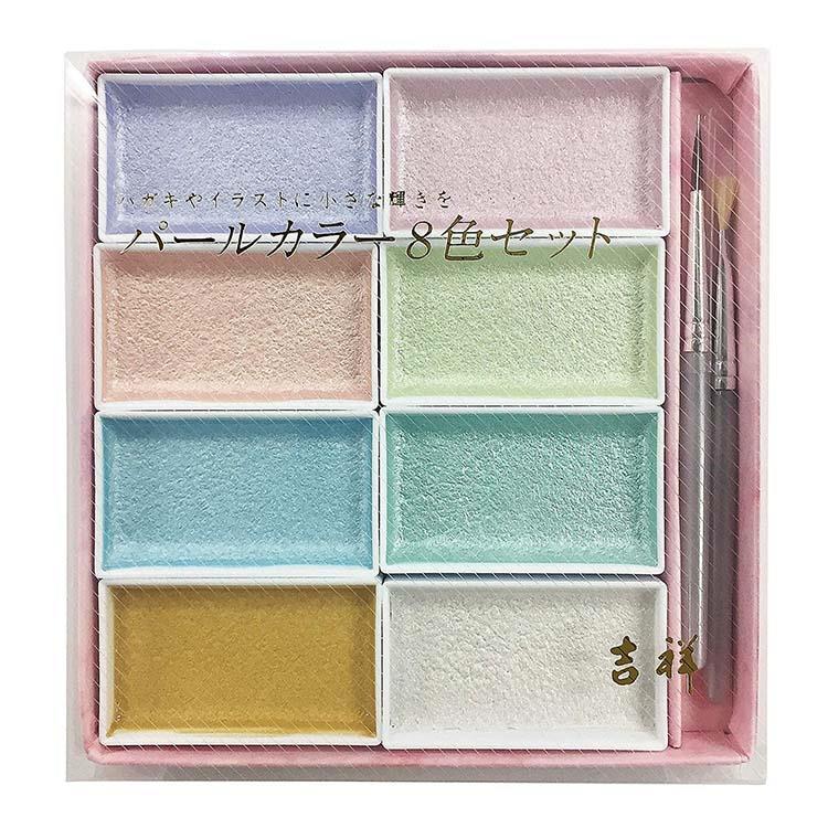 日本 吉祥 顏彩 國畫顏料 固態水彩 12色