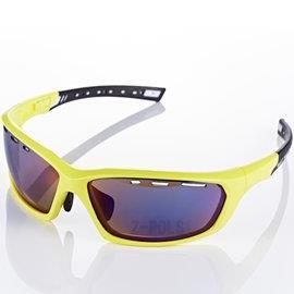 【視鼎Z-POLS三代頂級運動款】新一代TR太空纖維彈性輕量材質弧形包覆設計頂級運動眼鏡(亮螢光黃)