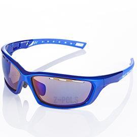 【視鼎Z-POLS三代頂級運動款】新一代TR太空纖維彈性輕量材質弧形包覆設計頂級運動眼鏡(寶藍款)