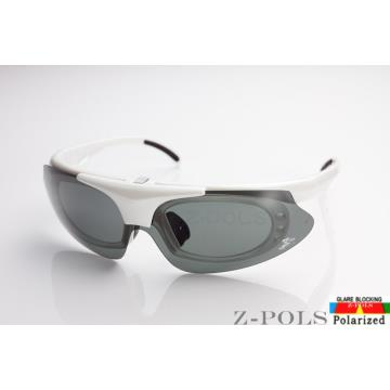 【Z-POLS全新設計新款 】強化型質感白 保麗來偏光 可配度數頂級運動太陽眼鏡,原裝上市!