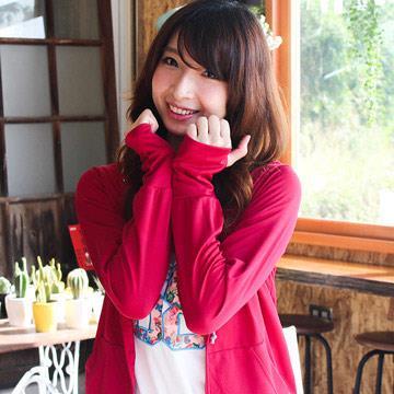 台灣製抗UV認證連帽露指外套 (深紅色 -M) 限量出清