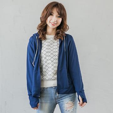 台灣製抗UV認證連帽露指外套 (土耳其藍-M) 限量出清