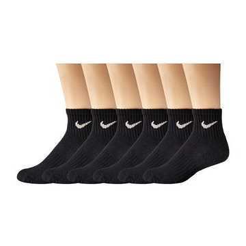 Nike 2015女時尚黑色1/4低切運動短襪6入組