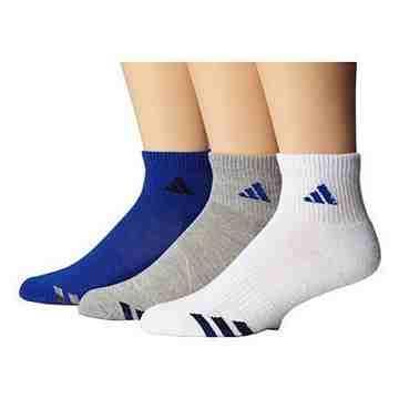 【Adidas】男女學童藍白灰運動短襪混搭3入組