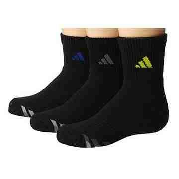 【Adidas】男女學童黑色運動短襪3入組