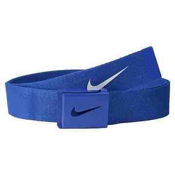 【Nike】2015金屬扣旋風標誌棉軟織帶靛藍色皮帶