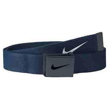 【Nike】2015金屬扣旋風標誌棉軟織帶大學藍色皮帶