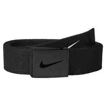 【Nike】2015金屬扣旋風標誌棉軟織帶黑色皮帶