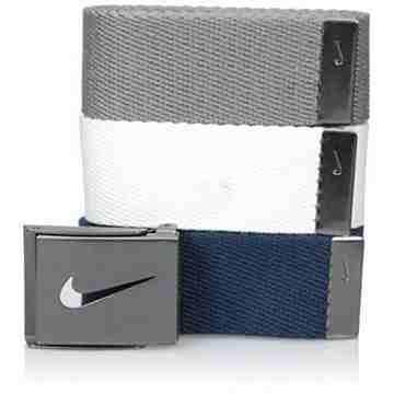 【Nike】2016金屬扣旋風標誌棉軟織帶寶藍灰白3入組皮帶