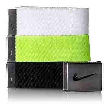 【Nike】2016金屬扣旋風標誌棉軟織帶白綠黑3入組皮帶