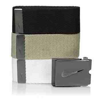 【Nike】2016金屬扣旋風標誌棉軟織帶黑卡其白3入組皮帶
