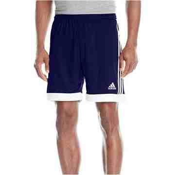 【Adidas】男時尚Tasigo休閒齊膝短褲-藍白色