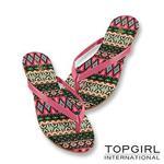 TOP GIRL-炫彩圖騰夾腳拖鞋-桃紅花