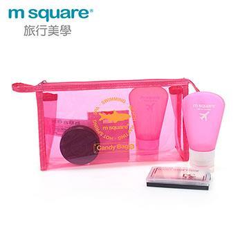 M Square親水系列PVC化妝包S-桃紅