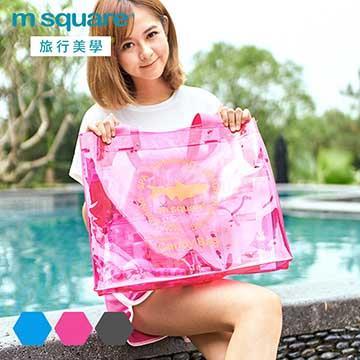 M Square親水系列PVC透明單肩包套裝-桃紅