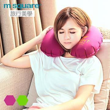 M Square輕遊系列充氣頸枕 男用-紫紅