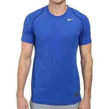 Nike 男時尚Pro Cool皇家藍色合身圓短袖ㄒ恤