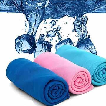 消暑神器 急速涼感冰涼毛巾 (4色可選)-橘