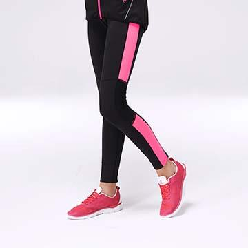 KENBOO-彈力舒適拼接運動緊身褲-淺紅