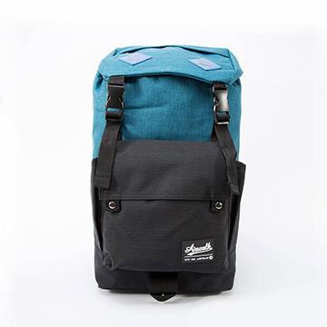 AIRWALK - 天地之間 蓋扣長型日式雙色登山後背包 - 藍與黑