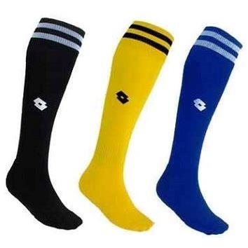 LOTTO 義大利品牌 兒童 專業足球運動襪 (21~24cm) 黑/黃/藍 2 雙