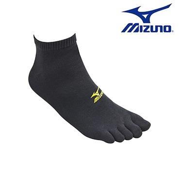 MIZUNO 美津濃 男運動薄底五趾短襪 D2TX652594 (黑X黃) 一次購買2 雙