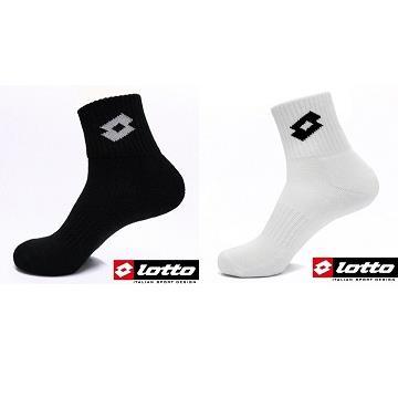 LOTTO 義大利品牌 彈性避震機能運動襪 LT6CMW0102 黑/ LT6CMW0180 白 2雙