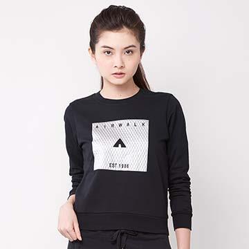 AIRWALK -網紋圖騰LOGO圓領T恤-黑