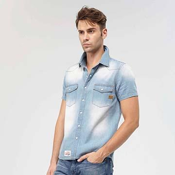 AIRWALK -刷色牛仔襯衫-藍