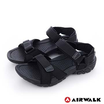 AIRWALK(男) - 小野人 越野戶外輕量防滑涼鞋-全黑