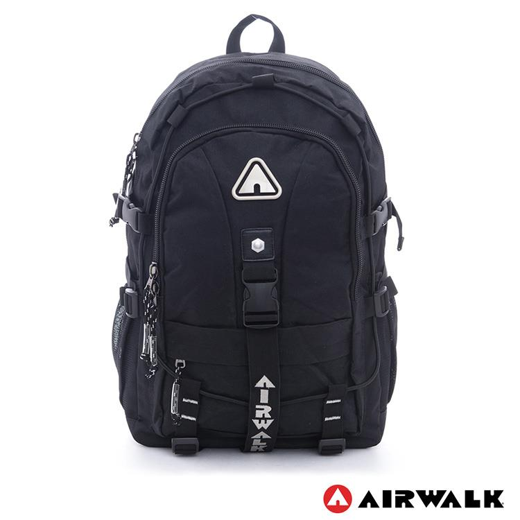 AIRWALK -安全守護 環線叉扣大容量登山筆電後背包-黑灰